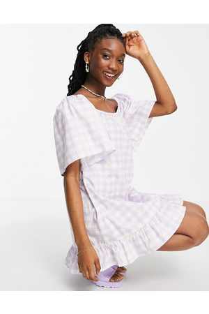 Wednesday's Girl Relaxed mini smock dress in daisy printed gingham-Purple