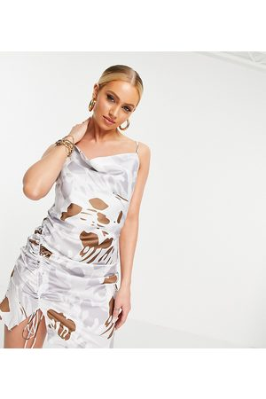 EI8TH HOUR Exclusive cowl neck min satin dress in marble print-Multi