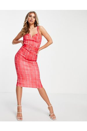 ASOS Sweetheart neck belted pencil midi dress in pink check print-Multi