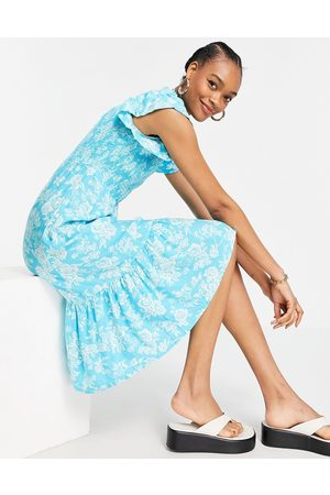 Y.A.S Midi dress with high neck a flutter sleeve in blue floral print-Multi