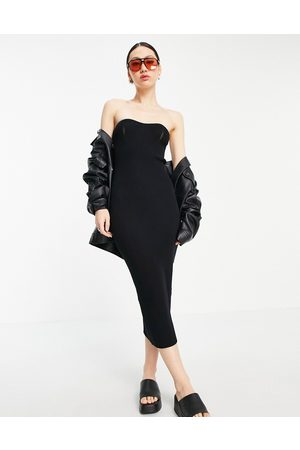 ASOS Bandeau maxi dress with sweetheart neckline in black