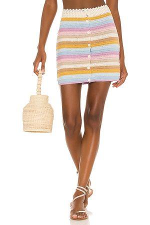 Lovers + Friends Lisette Crochet Mini Skirt in - Neutral,Baby Blue. Size L (also in XS, S, M).