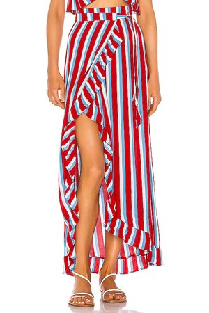 Lovers + Friends Waves For Days Wrap Skirt in - Red. Size L (also in XXS, XS, S, M, XL).