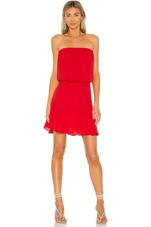 krisa Damen Trägerlose Kleider - Strapless Mini Dress in - Red. Size L (also in XS, S, M).
