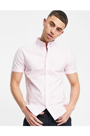 New Look Short sleeve muscle fit oxford in pink