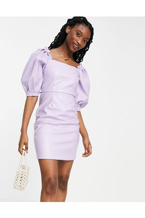 Collective The Label Oversized sleeve PU mini dress in lilac-Purple