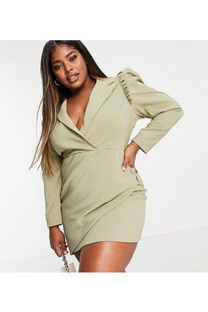 Lavish Alice Puff sleeve asymmetric wrap blazer dress in pistachio-Green
