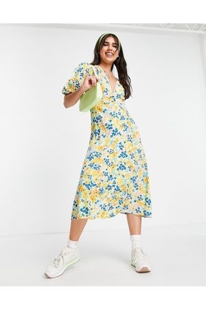 Influence Midi tea dress in yellow floral-Multi