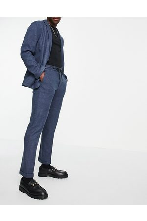 ASOS Slim soft tailored jersey suit jacket in navy wide twill-Blue