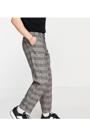 New Look Tapered smart trousers in dark grey check
