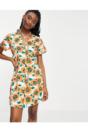 Daisy Street Damen Freizeitkleider - Mini dress in sunflower print-White