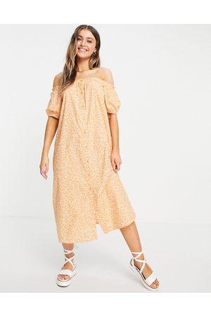 Monki Noa bardot puff sleeve midi dress in peach floral-Neutral