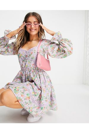 ASOS Damen Freizeitkleider - Button through lace insert mini dress with elasticated waist in floral print-Multi