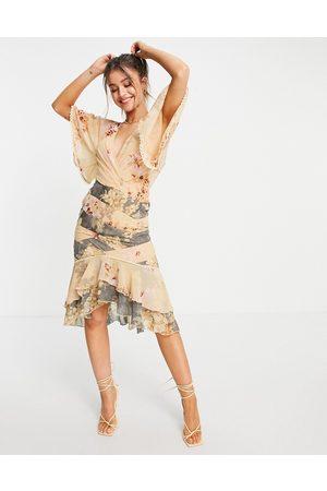 ASOS Damen Bedruckte Kleider - Mixed floral panelled midi dress with lace trim detail-Multi
