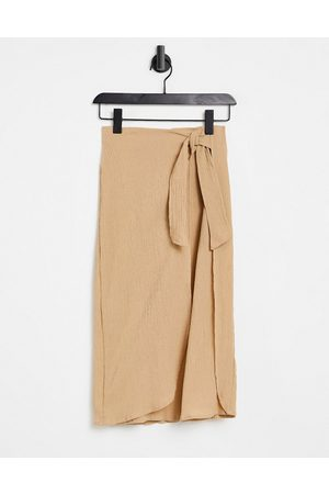 ASOS Damen Midiröcke - Wrap midi skirt in natural crinkle in dark stone-Neutral