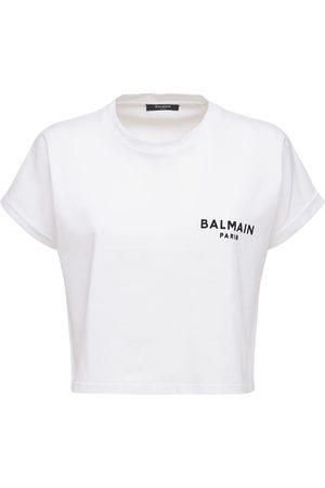 BALMAIN Damen Shirts - T-shirt Aus Baumwolljersey Mit Beflocktem Logo