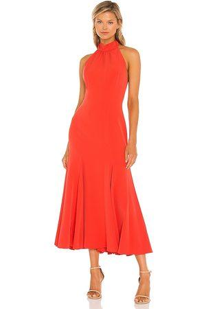 Milly Penelope Midi Dress in - Burnt Orange. Size 0 (also in 4, 6, 8, 10).