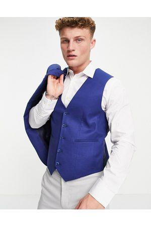 ASOS Wedding super skinny suit trousers in navy cotton linen