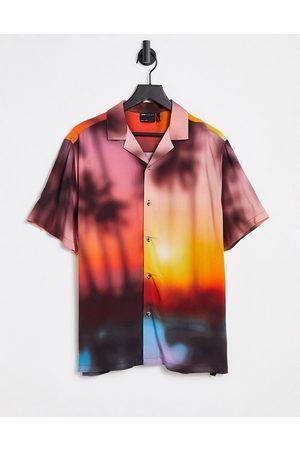 ASOS Relaxed revere blurred summer scenic print shirt