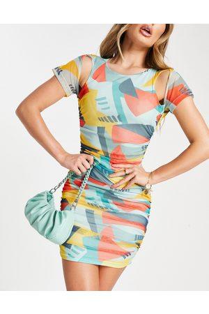EI8TH HOUR Mesh mini dress in geometric print-Multi