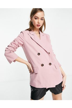 Ghospell Oversized double breasted blazer in powdered pink co-ord