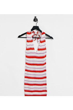 ASOS ASOS DESIGN Petite knitted mini dress with halter neck in multi stripe