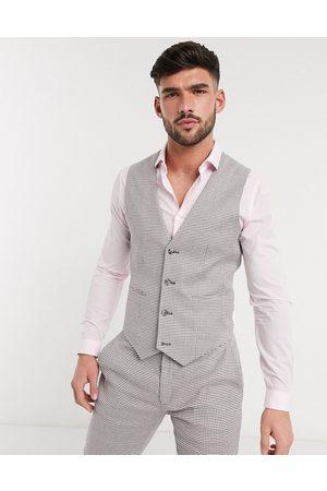 ASOS Herren Westen - Super skinny suit waistcoat in linen blend houndstooth