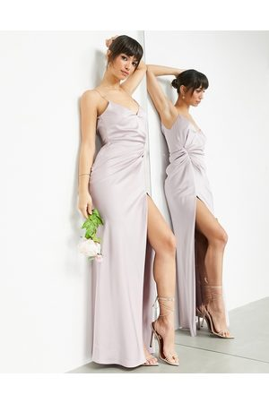 ASOS Satin cami maxi dress with drape detail in pale lavender-Purple
