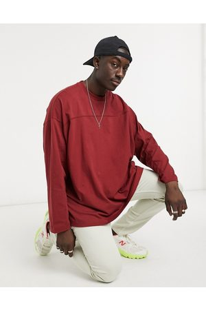 ASOS Oversized long sleeve t-shirt with seam detail in off burgundy