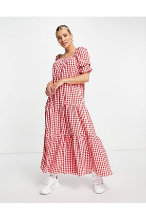 ASOS Tiered maxi smock dress in red gingham-Multi