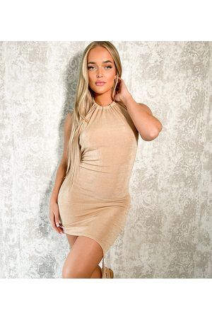 AsYou Damen Asymmetrische Kleider - Halter dress with asymmetric knot hem in neutral