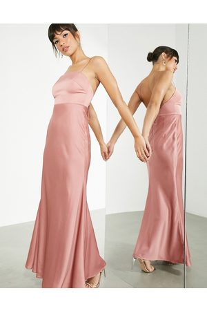 ASOS Satin square neck maxi dress with tie back in dusky rose-Pink