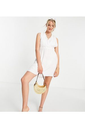 ASOS Tall recycled gathered detail mini beach dress in white
