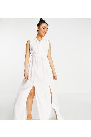 ASOS Petite recycled gathered detail maxi beach dress in white