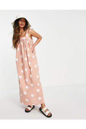 ASOS Trapeze maxi dress in oversized beige spot print-Multi
