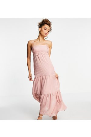 Forever New Open back tiered maxi dress in sun blush-Pink