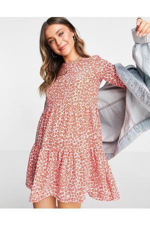 ASOS DESIGN Long sleeve tiered smock mini dress in red and white floral print-Multi