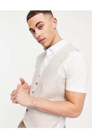 ASOS DESIGN Wedding slim suit waistcoat in stone cotton linen-Neutral