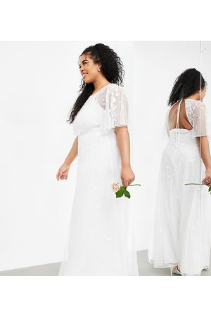 ASOS EDITION Curve Annie floral embroidered flutter sleeve wedding dress-White