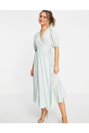 & OTHER STORIES Floral print wrap midi dress in dusty green