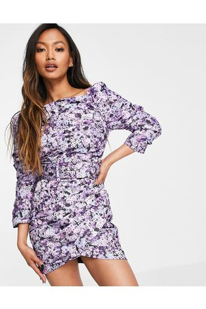ASOS Pleated sqaure neck mini dress in floral print with self belt-Purple