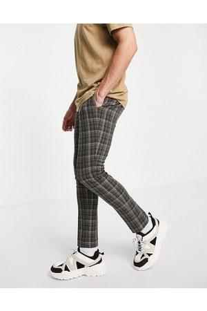 ASOS DESIGN Skinny smart trouser in grey tartan check
