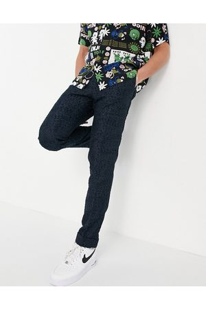 ASOS DESIGN Slim smart trousers in navy texture