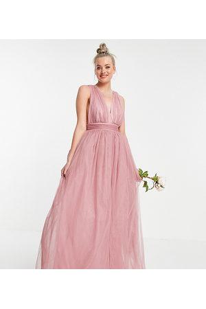 ASOS Damen Lange Kleider - ASOS DESIGN Tall tulle plunge maxi dress dress with bow back detail in rose-Pink