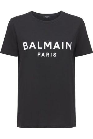 BALMAIN T-shirt Aus Baumwolljersey Mit Logobeflockung