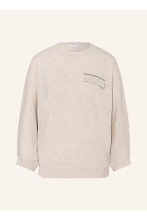 BRUNELLO CUCINELLI Damen Strickpullover - Cashmere-Pullover Mit 3/4-Arm beige