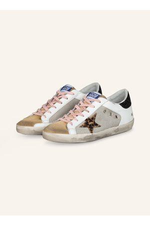 Golden Goose Damen Sneakers - Sneaker Superstar Mit Paillettenbesatz weiss