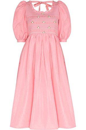Miu Miu Damen Freizeitkleider - Floral-embroidery puff-sleeve midi dress
