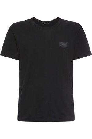 Dolce & Gabbana T-shirt Aus Baumwolle Mit Logoplakette