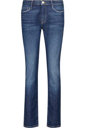 Frame Mid-Rise Cropped Slim Jeans Le Garçon